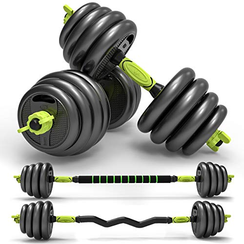 Oflamn Dumbbell Set Adjustable Body-Solid Rubber Grip Weight Set with Straight Bar and Curl Bar for Home Gym Weightlifting Range from 5.5LB to 66LB