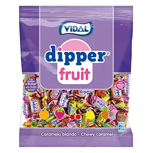 Vidal Golosinas Dipper Fruit. Caramelo blando masticable con zumo de frutas. Sabores frutales: piña, limón, naranja, fresa y...