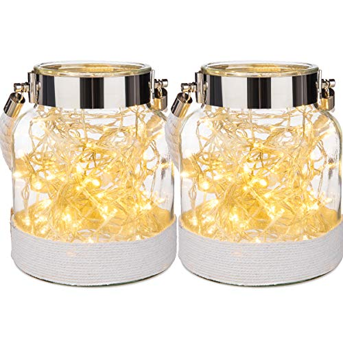 LIVIVO 2 x Stunning Vintage Glass Hurricane Candle Lantern Light Jar With Weaving Jute Rope – Perfect Indoor Outdoor Garden Decoration Living Room Home Office (White)