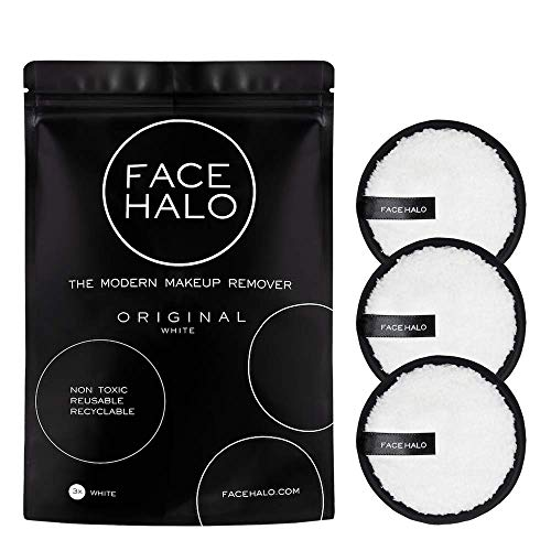 Face Halo | Reusable Makeup Remover Pads, Round Makeup Remover Pads for Heavy Makeup & Masks - Microfiber Makeup Remover Wipes for Mascara, Eye Shadow, Foundation (Original - 3 Pack) (Health and Beauty)