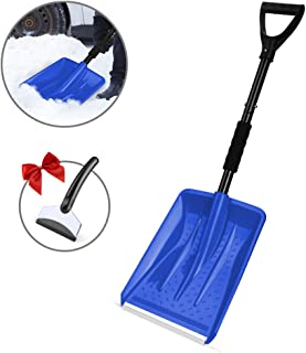 Eventronic Snow Shovel, Detachable Snow Shovel with Durable Aluminum Edge Blade, D-Grip Handle, Portable for Emergency, Car, Camping, Home (Blue, with a Gift Snow Scraper)