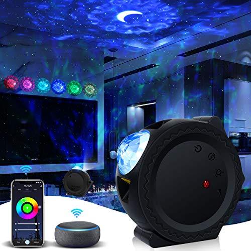 LED Sternenhimmel Projektor Nachtlicht Sternenhimmel lampe Sternenlicht Projektor 3 in 1 Sternenprojektor, Wasserwellen Projektor mit Timer&APP-Steuerung für Kinder/Geburtstagsfeiern/Zimmer Dekoration