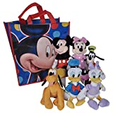 Disney 11' Plush Mickey Minnie Mouse Donald Daisy Duck Goofy Pluto 6-Pack in Gift Bag