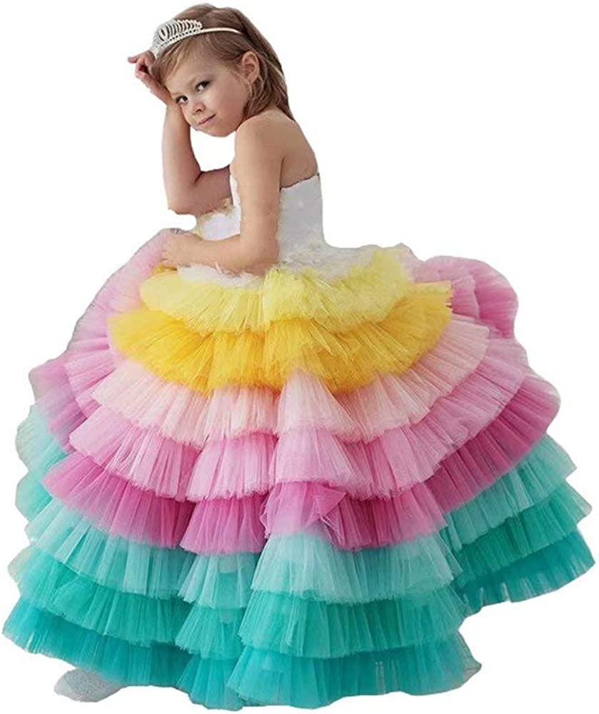 Rainbow Ruffle Quinceanera Dresses Kids Jewel Lace-up Princess Girls Pageant Dress 2021