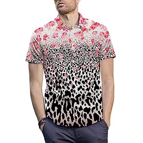 WODENINEK Heren Mode Shirt Korte mouw Luipaard Print Blouse Casual Slim Fit Zomer Bloemen Gedrukt T-shirt