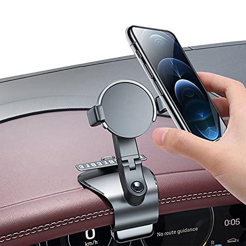 Soporte Móvil Coche para Salpicadero, HUD Soporte Móvil Télefono con Rotación Flexible de 1200° Compatible para GPS, iPhone, Samsung,Smartphones de 4,7 a 6,7 Pulgadas