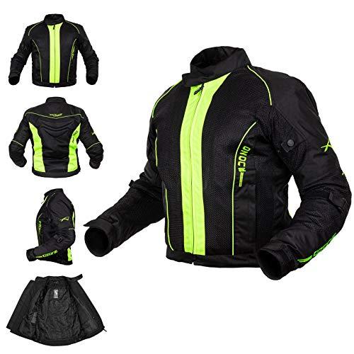 Giacca Mesh Traforato Traspirante Tessuto Tecnico Moto Touring Sport Fluo L