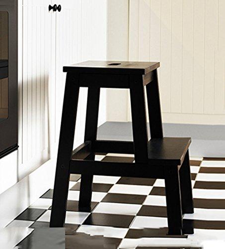 ZENGAI Tabouret en bois Échelle en deux étapes Pied simple cuisine , Haute 50cm, 3 couleurs Échelle en bois Bibliothèque ( Couleur : Noir )
