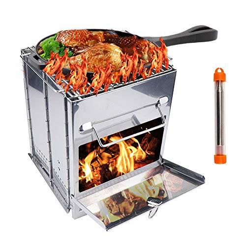 TIANC Estufa de madera de acero inoxidable portátil y portátil plegable estufa de leña con tubo de fuego para acampar al aire libre, cocinar, barbacoa