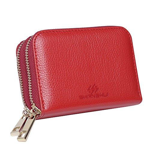 RFID Blocage Porte Carte De Crédit Femmes,SHANSHUI Portefeuille Monnaie en Cuir Véritable avec 12 Compartiments pour Cartes & Monnaie(Rouge)