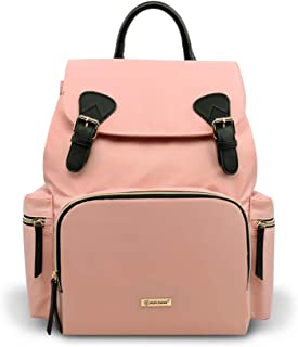 Pipibear Diaper Backpack, Stylish Multi-Function Diaper Bag Large Capacity Waterproof Travel Backpack for Baby Care (Pink)