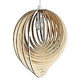 MiniSun - Moderner tropfenförmiger Lampenschirm aus Holz im Spiraldesign - für Hänge- und Pendelleuchte