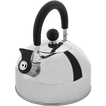 Lily's Home tetera silbante de acero inoxidable de 2 cuartos de galón, la perfecta estufa de té y hervidores de agua para tu hogar, recámara, condominio o departamento.