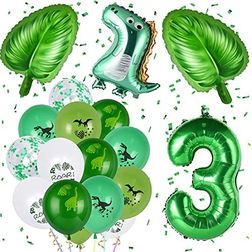 FORMIZON Globos de Cumpleaños Dinosaurios, 18 Piezas Cumpleaños Globos, Verde Globos Dinosaurios, Globo Numero, Fiestas de Dinosaurios Globos Cumpleãnos Fiesta Party Decoración (Número 3)