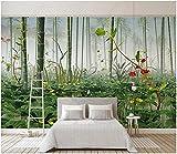 Papel De Pared 3D Tela No Tejida Papel Pintado Plantas Verdes Flores Estanque Del Bosque Paisaje Natural Papel Pintado Pared Mural Decorativo Salón Dormitorio 150x105cm