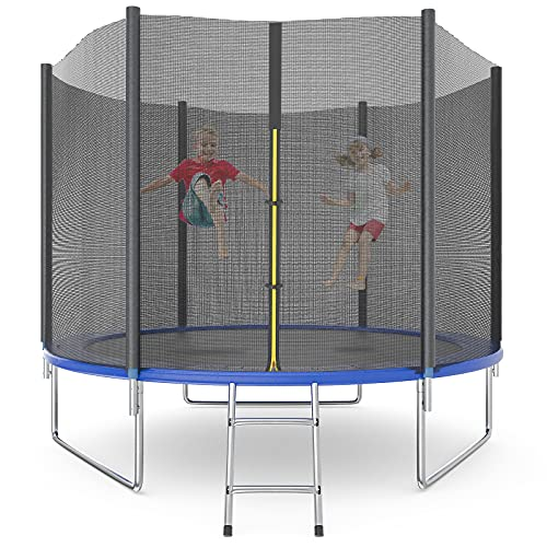Trampoline 10FT 12FT 15FT for Kids Adults with Enclosure Spring List Jump Recreational Trampolines with Safety Enclosure Net, Combo Bounce Outdoor Trampoline, Non-Slip Ladder, ASTM Approved