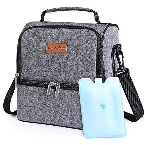 Anjing Bolsa de almuerzo aislada de doble compartimento 7l con bolsa de hielo para adultos/hombres/mujeres/niños gris