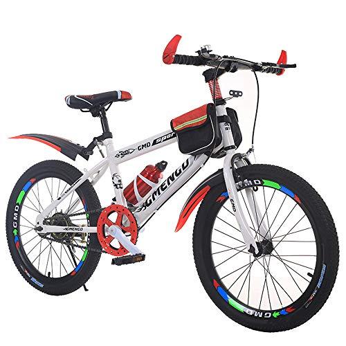 JHKGY Bicicleta De Montaña De Aluminio para Niños,Doble Suspensión,Frenos Delanteros Y Traseros,para Montar En Terreno Liso O Accidentado,para 6-10 Edades Niños Niñas,Rojo,20 Inches