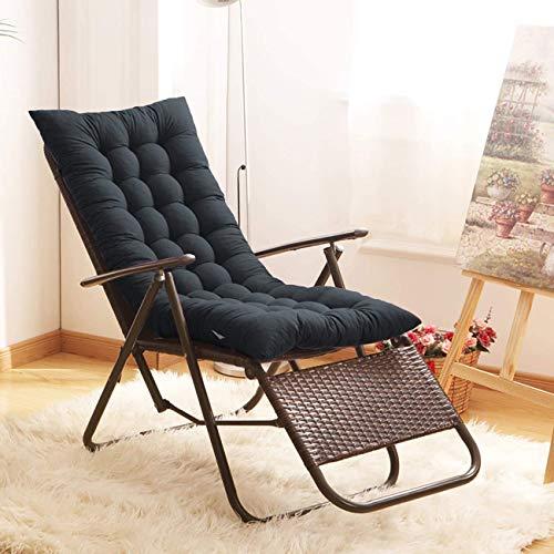 Finebaby Sun Lounger Chair Cushions, Non-Slip Rocking Chair Cushion Garden Recliner Quilted Thick Padded Seat Cushion Reclining Chair Rocking with Ties (49.21x18.89x3.14inch, Black)
