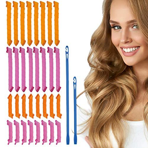 32Pcs Magic Spiral Lockenwickler Spiral Curls Styling Kit Keine Hitze DIY mit 2 Sets Styling Haken Werkzeuge für Mädchen Frau (30cm, 55cm)