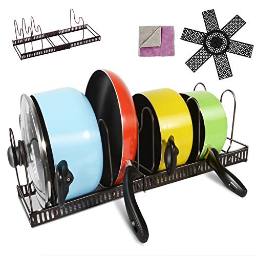 Expandable Pan Pot Lid Organizer Rack Holds 7 Tier Adjustable Cookware Holder for Kitchen Organization and Storage with Extra Pan Protector
