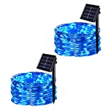 JMEXSUSS 2 Pack Solar String Lights Outdoor, 200 LED 65.6ft 8 Modes Solar Powered Waterproof Copper Wire Fairy Lights for Home, Garden, Patio, Wedding, Party, Christmas Decoration (Blue 200LED)