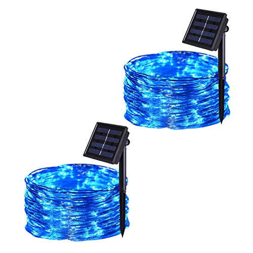 JMEXSUSS Solar String Lights Outdoor Waterproof, 2 Pack 100 LED 32.8ft 8 Modes Solar Copper Wire Fairy Lights for Christmas, Patio, Garden, Wedding, Party Indoor Decorative (Blue)
