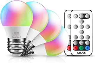 Govee Color Changing Light Bulbs with Remote, 3W 300lm RGBW LED Light Bulbs Dimmable, Multicolor Decorative Lighting Bulb for Home, Stage, Party, Warm White 2700K, Cool White 6500K (4 Pack)