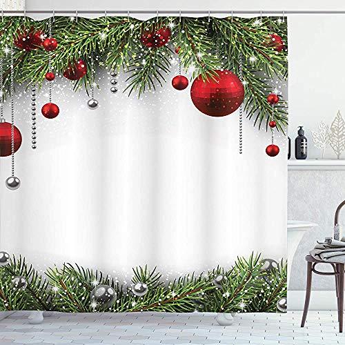 ASDAH Kerst douchegordijn stof badkamer Decor Set met haken dennenbladeren Bal 66 * 72in