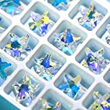 Nibiru 28 Pcs Charms Crystal AB Glass Loose Beads 14mm Crystal Gemstone for Jewelry Making Decorations (14mm Starfish) …