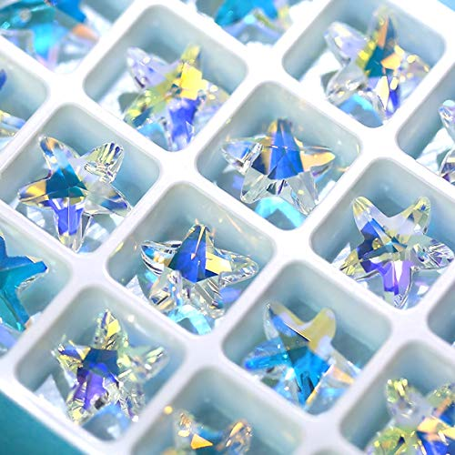 Nibiru 28 Pcs Charms Crystal AB Glass Loose Beads 14mm Crystal Gemstone for Jewelry Making Decorations (14mm Starfish)