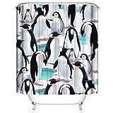 LLLTONG Duschvorhang wasserdicht & Schimmel waschbar Duschvorhang Polyester Stoff 3D Duschvorhang Pinguin