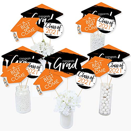 Big Dot of Happiness Orange Grad - Best is Yet to Come - 2021 Orange Graduation Party Centerpiece Sticks - Table Toppers - Set of 15