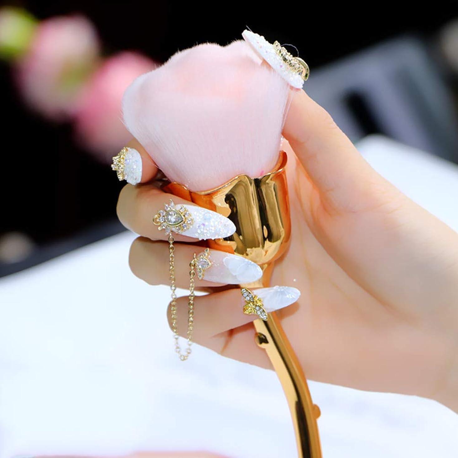 うま泥タイピストDaimai 化粧ブラシ ネイルダストブラシ ピンク バラ花 ブラッシュブラシ ネイルダストブラシ ローズブラシ ネイルアートクリーニングブラシ ブラッシュパウダーブラシ