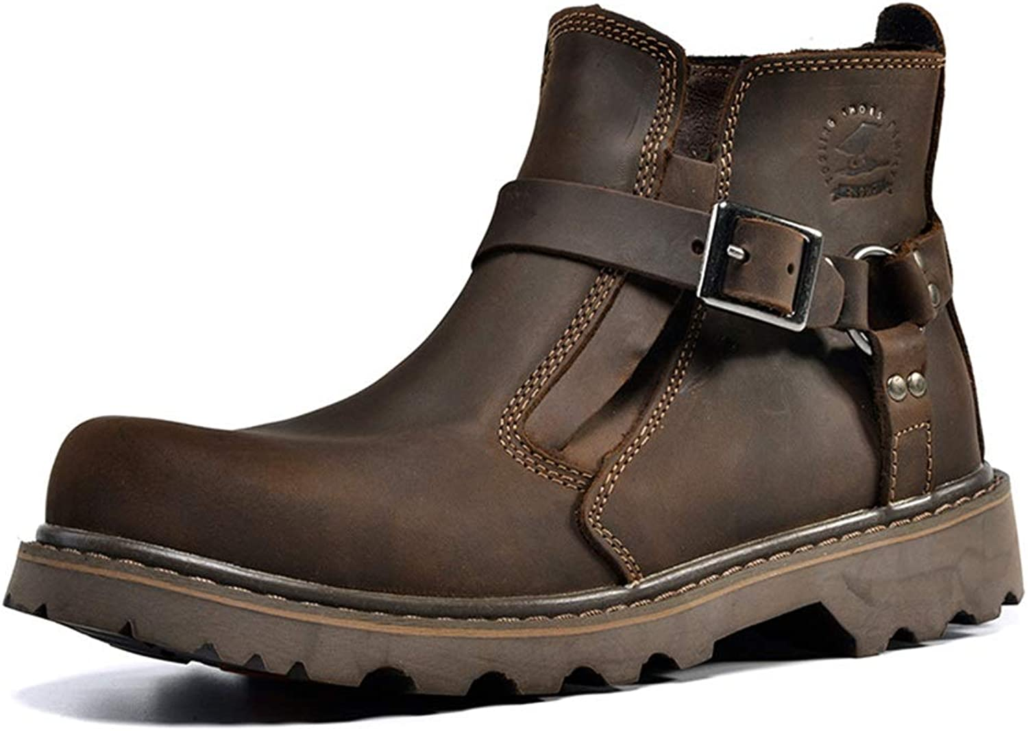 Genuine Leather Buckle Boots for Men Soft Sole Non Slip Durable Casual Boots (color   Brown, Size   CA 8.5)