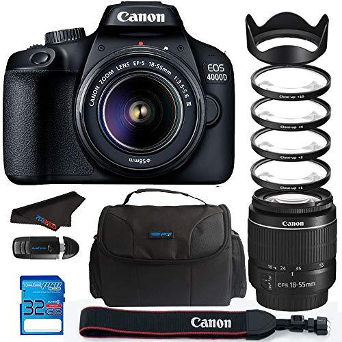 Canon EOS 4000D / Rebel T100 18.0 MP SLR - Black w/ 18-55mm DC III Lens Bundle -...