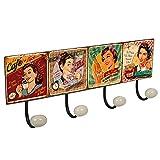 POMOLINE Percha Pared Metal diseño Cartel Retro Vintage decoración Mujer USA Food Pin up con 4 Ganchos Porcelana