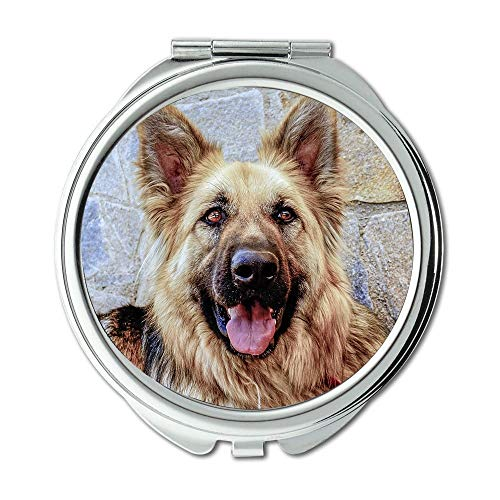 Espejo de maquillaje, espejo retrovisor para perro, perro pastor alemán, para perro, con ojos, espejo de bolsillo, espejo portátil