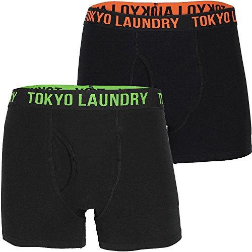 Tokyo Laundry Herren Haydon 2er Packung Designer Boxer Shorts Box-Set - Kürbis-Orange/Grün, Größe S - W31 / 78cm