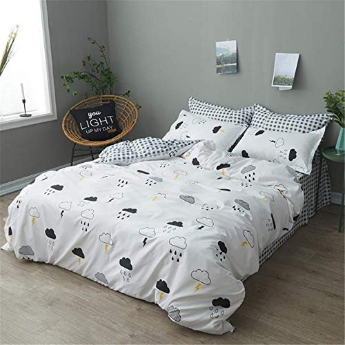 WHSS Juego de ropa de cama de 4 piezas de doble tamaño niño niña, microfibra almohada edredón Sábanas niños dibujos animados impresión 220x240cm lluvia funda de edredón