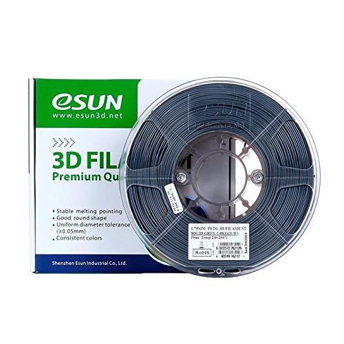 eSun Filamento PETG para impresora 3D, 1,75 mm, 1 kg, color gris