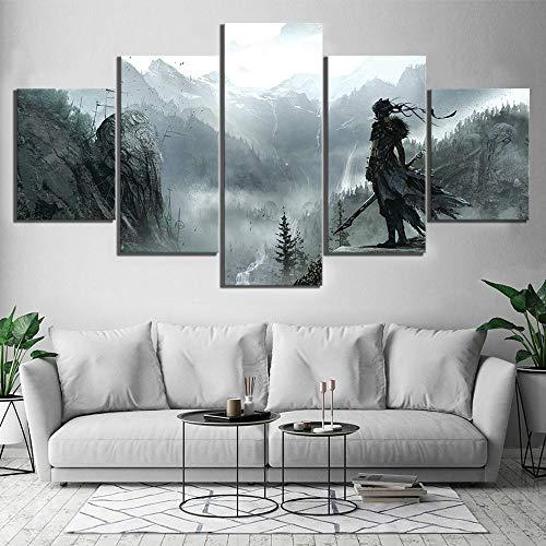 chgznb Leinwanddrucke 5 Stück HD-Bild Hellblade Senuas Opfer Spiel Szene Poster Leinwandbilder Berggemälde für Wohnkultur Drucke auf Leinwand