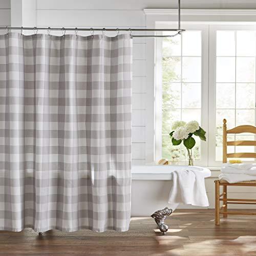 Elrene Home Fashions Farmhouse Living Buffalo Check Shower Curtain, 72' x 72', Gray/White