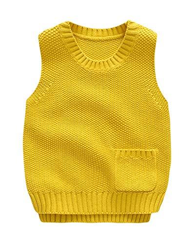 Niños Niñas Chaleco Jersey De Punto Cuello Redondo Sin Mangas Suéter Pullover