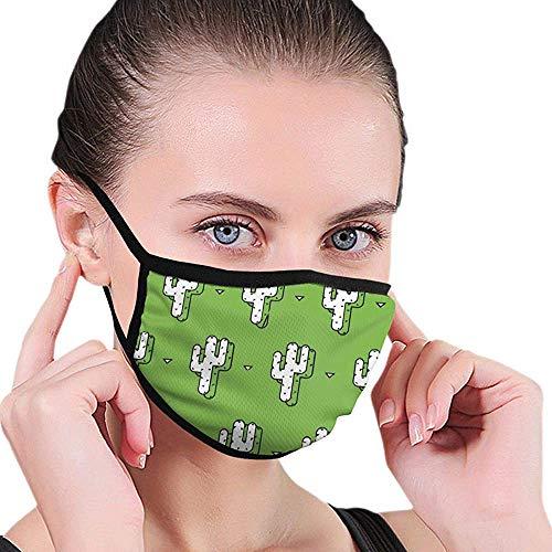 Cover Mask Cactus Schilderij Groene Patroon Mond Cover Warm Elastische Oorlus Werk Winddicht Ademend Unisex Gezichtsmasker Wasbaar Herbruikbare Gift School Outdoor
