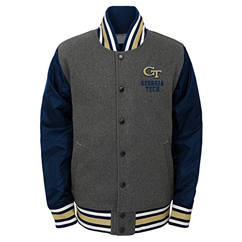 NCAA by Outerstuff NCAA Youth Boys Letterman Varsity Jacket, Charcoal Grey, Large (14-16), Georgia Tech