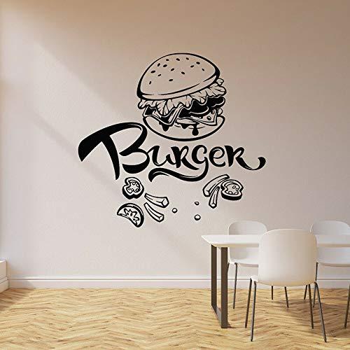 WERWN Calcomanías de Pared de Hamburguesa café Restaurante de Comida rápida Restaurante decoración de Interiores Papel Tapiz artístico Delicioso Puertas y Ventanas Pegatinas de Vinilo
