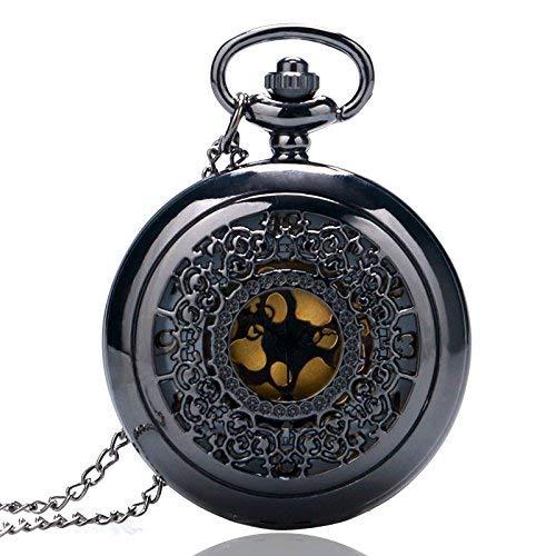 J-Love Steampunk Elegante Negro Vintage pentant Hueco Medio Cazador Reloj de Cuarzo río Hombres Mujeres Regalo