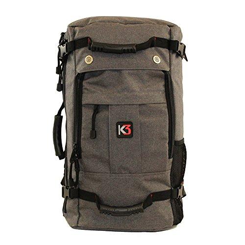 K3 Bravo Weatherproof Water Resistant Duffel Backpack Charcoal 40 Liter