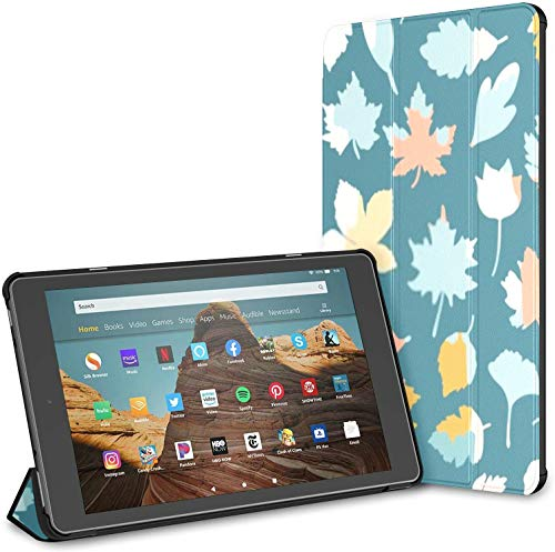 Case for All-New Amazon Fire HD 10 Tablet 7th and 9th Generation,2017/2019 Release - Premium PU Leather Slim Fit Stand Cover with Auto Wake/Sleep,Seamless Pattern Colorful Leaves Summer On